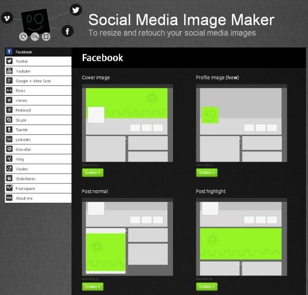 """Az Autre planéte, egy párizsi dizájn stúdió """"Social Media Image Maker"""" néven hasznos alkalmazást publikált amellyel a különböző közösségi médiumok megannyi eltérő méretű képméretei szerint méretezhetjük az adott médiumon megjelentetni kívánt képanyagunkat. Jelenleg 15 különböző közösségi médium képméretei szerint méretezhetjük a képeinket, így többek között a Facebook, Twitter, LinkedIn, YouTube, Google+, Pinterest, Flickr, és a Tumblr is megtalálható a listájukon."""