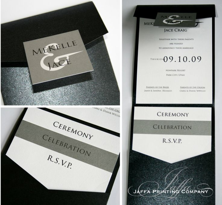 wedding colors for modern bride pocket invitations