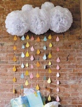 5 White Pom Poms and Rain Drop Garland