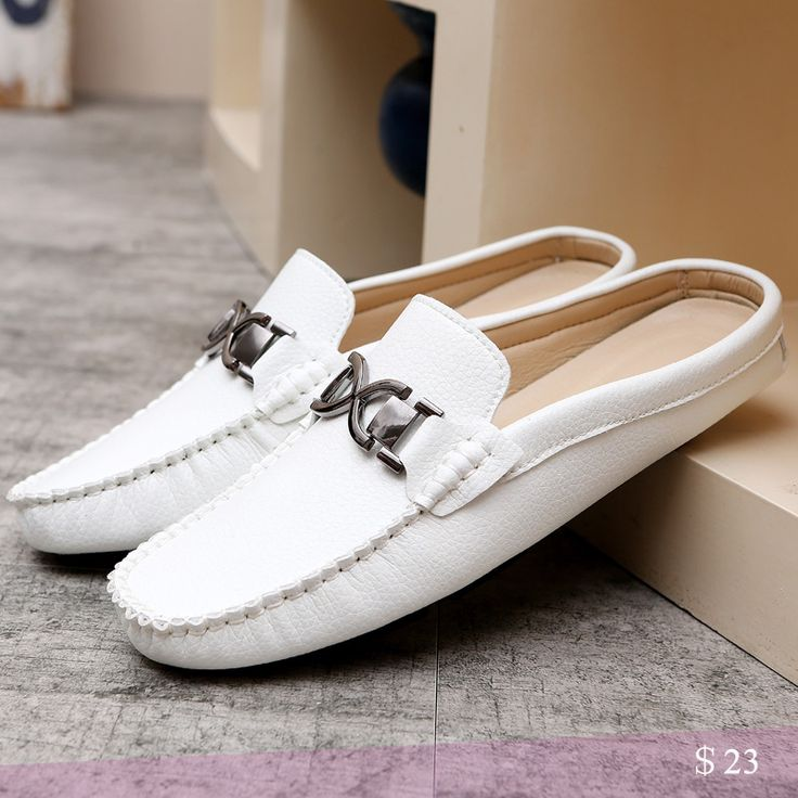 US $23 Urban Men Driving Shoes Luxury Brand Shoes Summer Men Shoes Backless Horsebit Loafers Open Backs Shoes Without Back