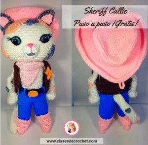 Sheriff Callie, patrón con el paso a paso, para hacer esta preciosa muñeca en amigurumi.
