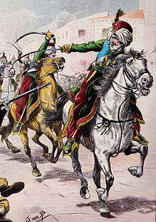 Charge des mamelouks de la Garde impériale lors du soulèvement du Dos de Mayo (par Job, 1929, extrait de La Vieille Garde impériale).