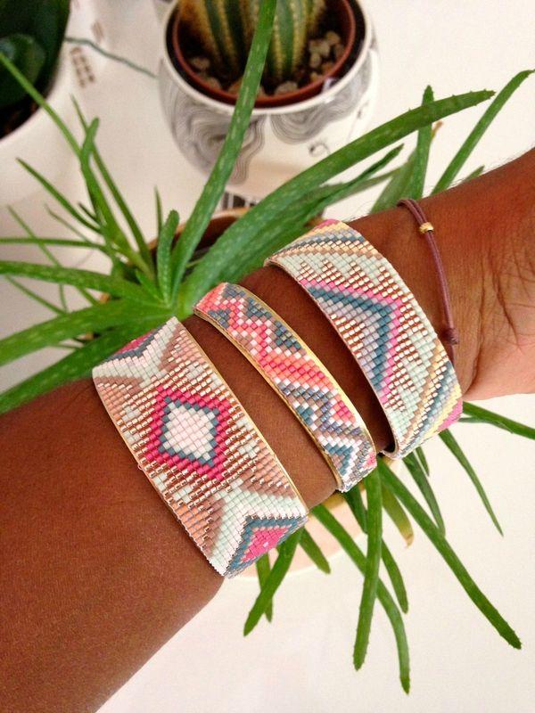 Bracelets manchettes en perles miyuki