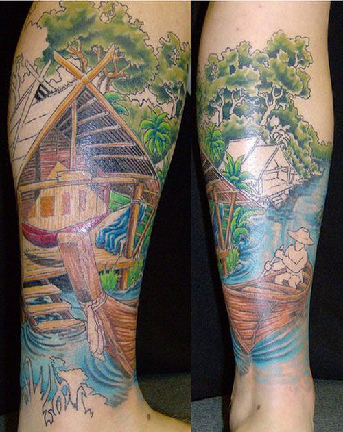 Boat on the River Tattoo -  Over 30,000 Tattoo Ideas and Pictures Enjoy! http://www.tattooideascentral.com/boat-river-tattoo/