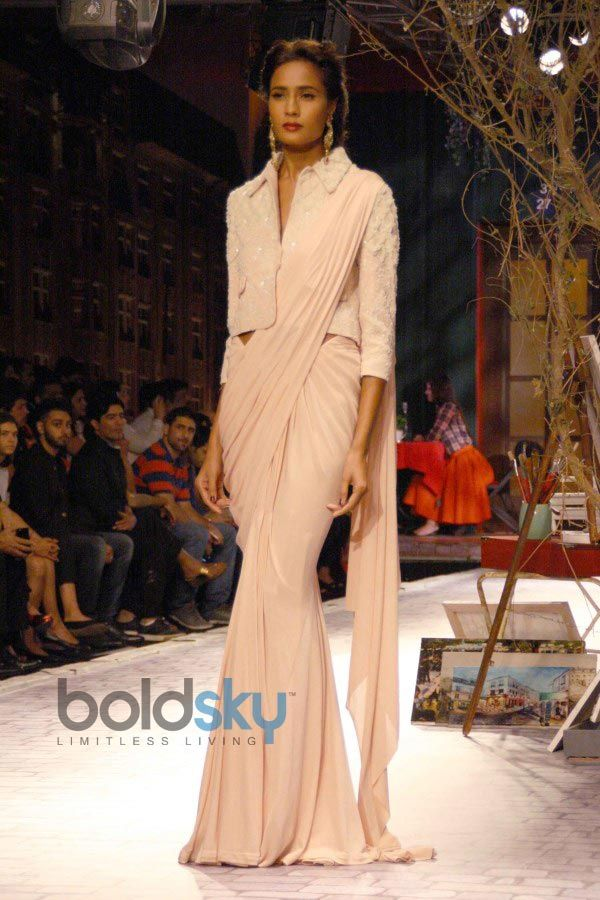 Pale Pink #Saree With Jacket From The Monisha Jaising Show At ICW 2014.
