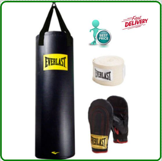 Everlast 100 lb Heavy Bag Boxing Kit Punching Bag Gloves Hand Wraps Training NEW #Everlast