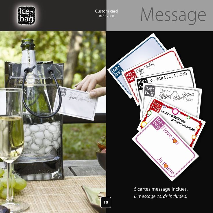 4209 Icebag Message w/6 message cards Product Description  Message cards include a blank card and following messages: Happy Birthday, I Love You, Congratulations, Thank You and Merry Christmas/Happy New Year Made from durable PVC plastic, the Ice Bag® is water tight, light weight, flexible and folds flat for easy storage. Small and easy to carry – saves table space and goes anywhere with your bottle Original, trendy and suitable for every occasion all year Economical – it chills faster