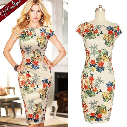 Find More Dresses Information about VfEmage Womens Elegant O Neck Flower Floral Print Summer Casual Party Wear to Work Slim Bodycon Pencil Sheath Dress 422,High Quality Dresses from Valuefashionshop on Aliexpress.com