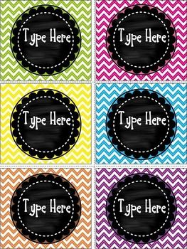 """Editable Chalkboard and Chevron Labels  contains 6 blank Chalkboard and Chevron labels.Size of the labels are:3.23 """"  * 3.65"""""""