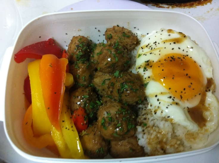 homemade lunch box   ~ sauteed peppers  ~ Ikea meatballs  ~ Sunny side up  all topped with black pepper gravy    <3