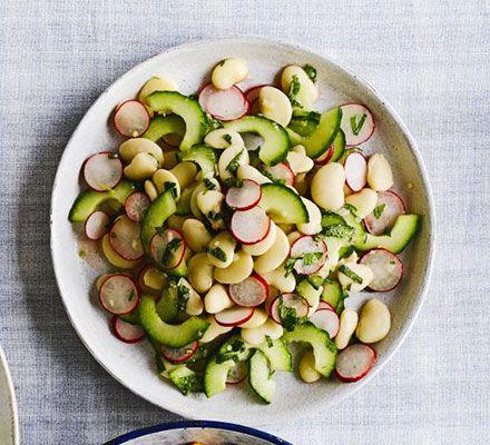 Butter bean, cucumber & radish salad