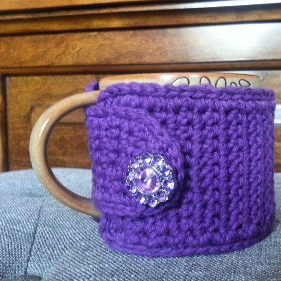 Coffee Mug Cozy  in Purple Coffee Cup Sleeve Gift by NandysNook