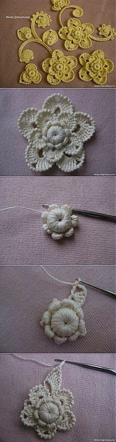 wzory koronki irlandzkiej  irish crochet detals. Diagrams to follow. ﻬஐCQஐﻬ #crochet #spring #crochetflowers #irishlace #flowers