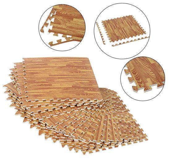 Soozier 72 SqFt Wood Grain Interlocking Floor Mats EVA Foam GYM Puzzle Mat Tiles #Sooizer