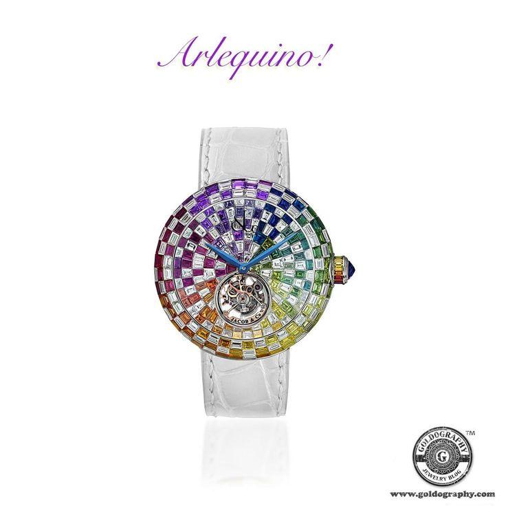 Arlequino! #JacobandCo #18K #WhiteGold #Gemstone #Watch #Baguette #MultiColoured #Sapphires #Diamonds #Tourbillon #TimePiece #Fashion #Jewelry #Jewellery