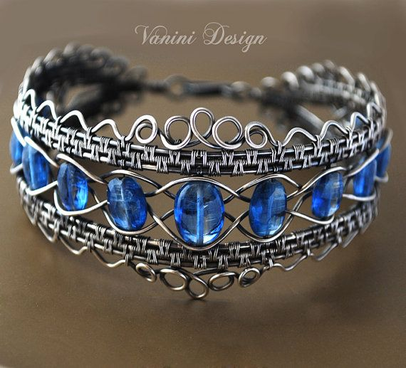 The Crown  Fine silver and kyanite bracelet от vanini на Etsy, $547.00