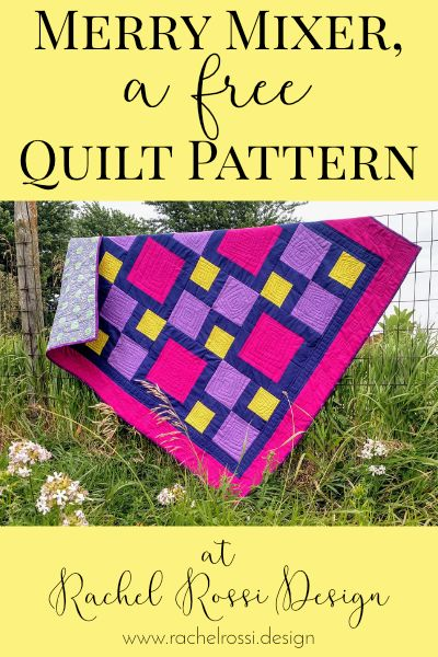 A free quilt pattern from Rachel Rossi Design. This pattern includes instructions for baby, throw, and twin sized quilts. Perfect for beginners or just-can't-cut-it fabrics!