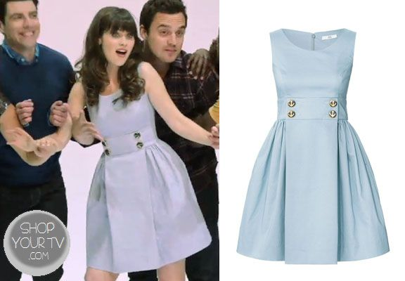 Jessica Day (Zooey Deschanel) wears this nautical blue dress in this promo picture for New Girl Season 3.