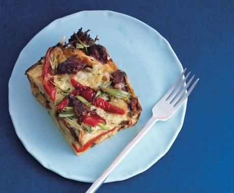 sausage fontina and bell pepper strata - Cheese Strata Recipes Brunch