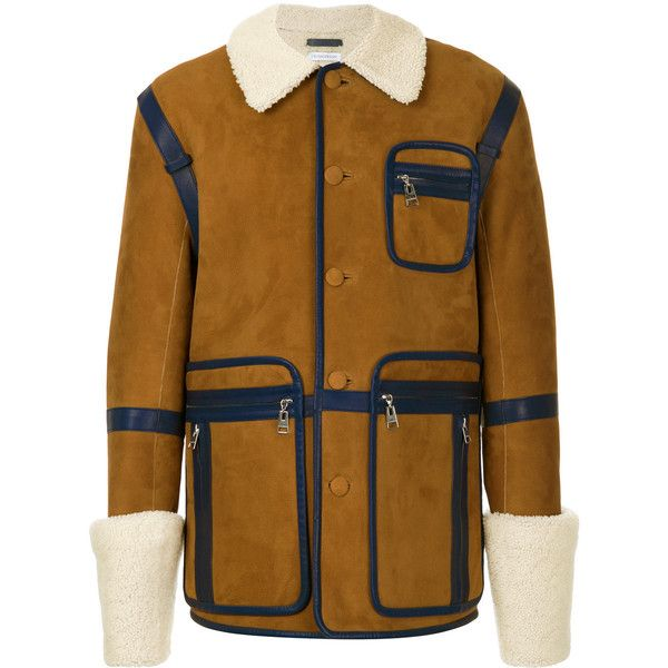 JW Anderson shearling jacket (48,190 MXN) ❤ liked on Polyvore featuring men's fashion, men's clothing, men's outerwear, men's jackets, brown, mens shearling jacket, mens collared jacket and mens brown jacket