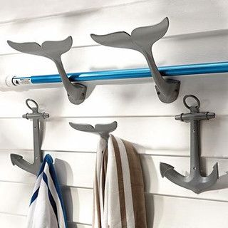 These whale tail and anchor hooks are perfect for a poolside cabana. I can see them on the inside or outside of a pool storage shed or party house. They have a