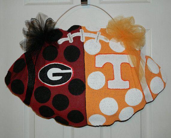 Custom Made to Order Shabby Chic House Divided Georgia Tennessee Football Burlap Door Hanger on Etsy, $35.00