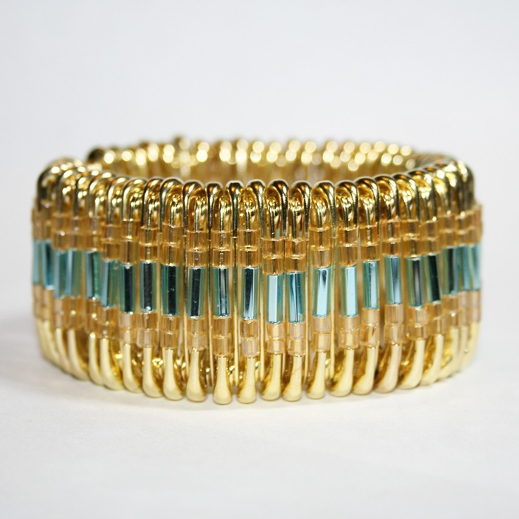 Glitz - Safety Pin Bracelet. $20.00, via Etsy.