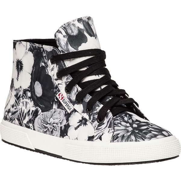 SUPERGA Black And White Floral Print Sneaker ($69) ❤ liked on Polyvore featuring shoes, sneakers, superga shoes, hi-tops, high top sneakers, lace up shoes and superga sneakers