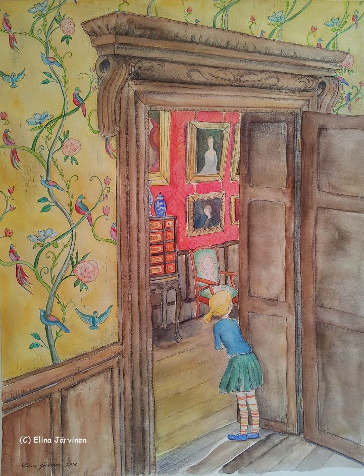 In the old house. By Elina Järvinen. After three years of inflamed and sore hands I'm finally able to paint again! Of course the first painting after a long break had to be about an old house :-)