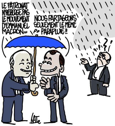 En Marche, le nouveau mouvement d'Emmanuel Macron, créé hier à Amiens, est hébergé à l'Institut Montaigne par des très proches de Pierre Gattaz et du MEDEF.