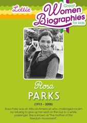 Rosa Parks biography for kids: download the free printable at http://www.lottie.com/blogs/great-women-and-girls/18992571-rosa-parks-biography-for-kids