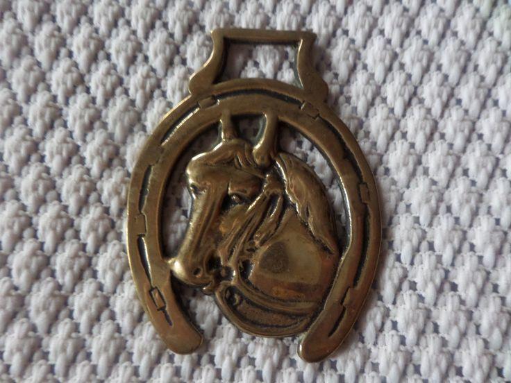 Horse brass, horses head, horseshoe,  horse brass, vintage horse brass, horse tack, horse medallion, equestrian brass, brass medallion by MaddisonsRainbow on Etsy