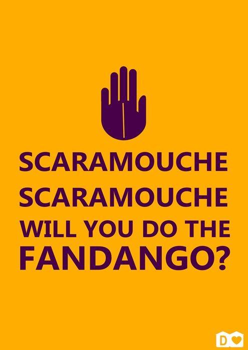"""""""Fandango"""" é uma dança, mas a palavra vem do português fado e latim fatum (destino). A pergunta """"Scaramouche, Scaramouche, will you do the fandango?"""" pode significar então """"Scaramouche, você vai cumprir o seu destino?"""""""