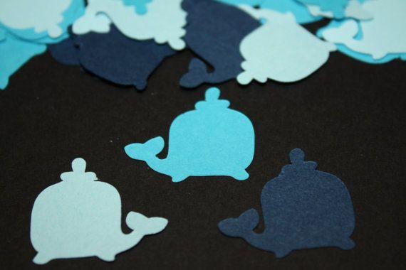200 pieces Whale Die Cut Confetti Table Decor  Blues