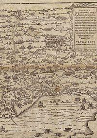 Koninklijke Bibliotheek van België : Kaarten en plannen; oudste gedrukte topografische kaart van de Zuidelijke Nederlanden uit 1586 Corte Cronikel van Cornelis van Hoorn