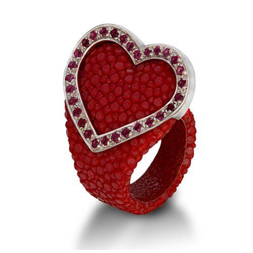 Ring stingray love woman saint Valentin heart jewels stones stingray leather love
