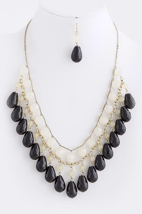 """Multi Teardrop Layered Bead Necklace Set (earrings included) approx. 26"""" length with 2.5"""" extender and lobster claw clasp Black/White  $24.00 with FAST, FREE SHIPPING"""