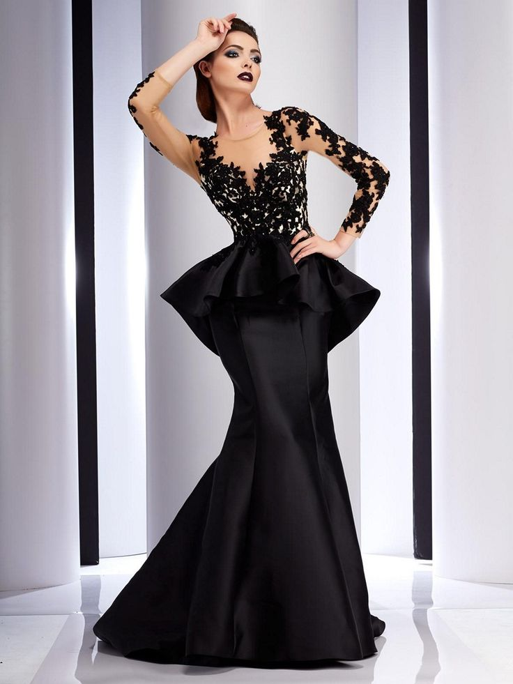 Add dramatic flair to any occasion in the Clarisse Couture 4701 evening dress with trumpet silhouette. This striking gown showcases a sheer long sleeved bodice embellished with bold lace appliques. It features a scoop neckline and an illusion cutout back. A pleated satin peplum adorned with lace appliques flares from the waistline, dipping into a point at the back. The sleek satin trumpet skirt flows into an elegant sweep train. Available dress sizes are from 0 to 20