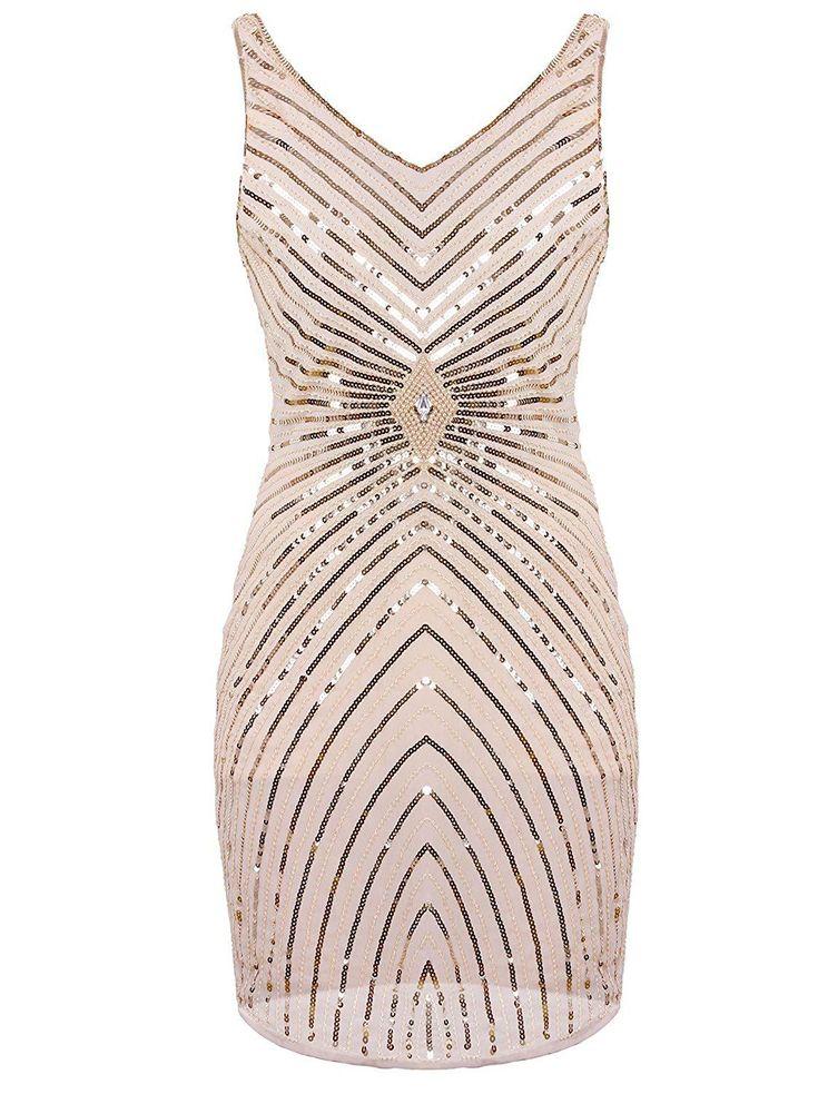 1920s V-Neck Art Deco Sequin Beaded Tank Cocktail Flapper Dress – Medium Beige
