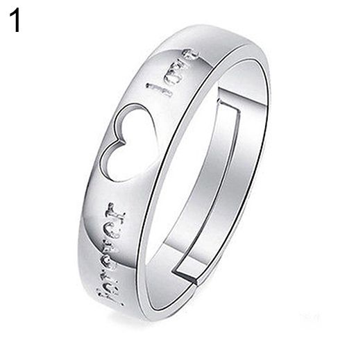 2015 Fashion Hot  Silver Plated Forever Love Zircon Heart Adjustable Couple Ring 75AF