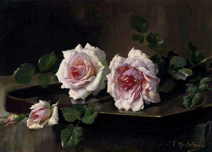 Художник Frans Mortelmans родился в 1865 году в городе Антверпене. Многие годы он писал портреты, жанровые сюжеты и исторические картины. Однако, настоящую известность художнику принесли натюрморты.    В 1903 году натюрморт с розами был приобретен Королевским Музеев изящных искусств в Антверпене – после этого события творчеством и работами художника заинтересовались любители живописи во всей Европе.