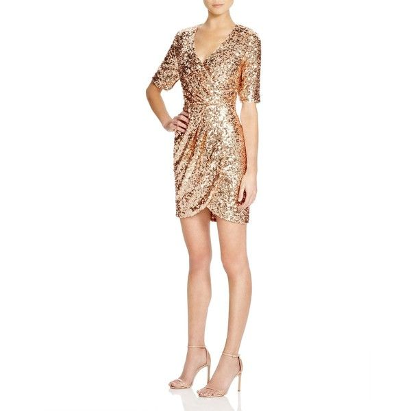 French Connection Lunar Sparkle Sequin Dress ($290) ❤ liked on Polyvore featuring dresses, pale gold, sparkly cocktail dresses, gold sparkly dress, white sequin dress, white dress and disco dress