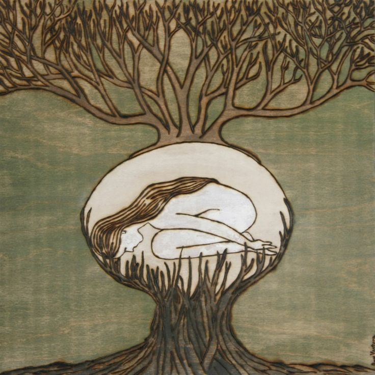 Rooted Still, Amy Ventura, burned wood engraving finished with milk paint   woodburning, engraving, art, artwork, brown,  wood, texture, nature, patterns, brown, seeds, plants, woman, tree, roots, egg, natural, cycle, sleeping, branches, life, green