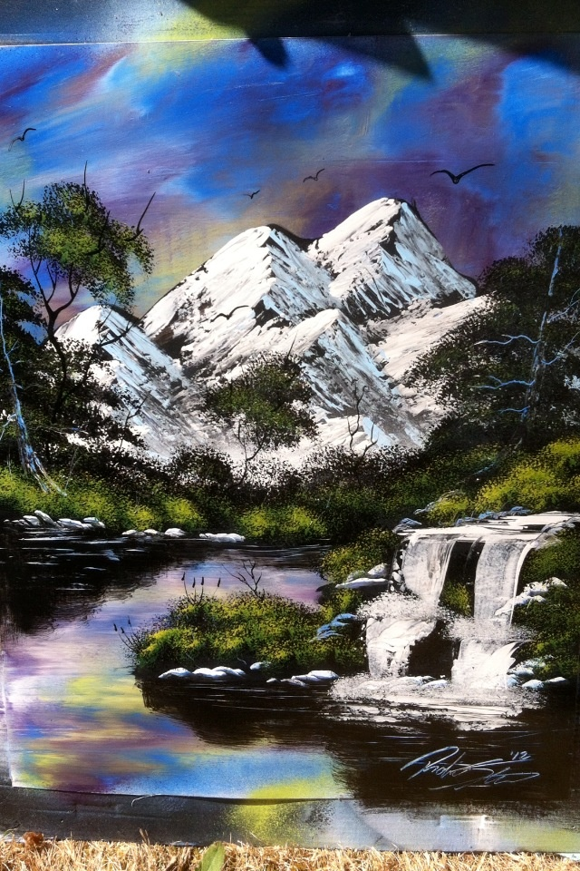 Mountains and nature spray painting - art by Robert Stevens