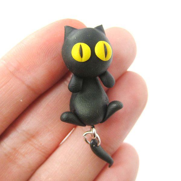 handmade-black-kitty-cat-animal-fake-gauge-two-part-polymer-clay-stud-earring