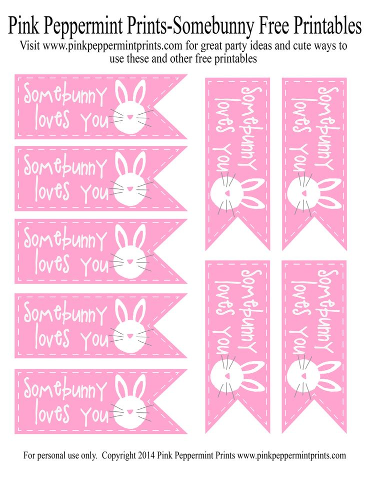 Free Printable: Easter Egg Hunt Party Favor Somebunny Loves You