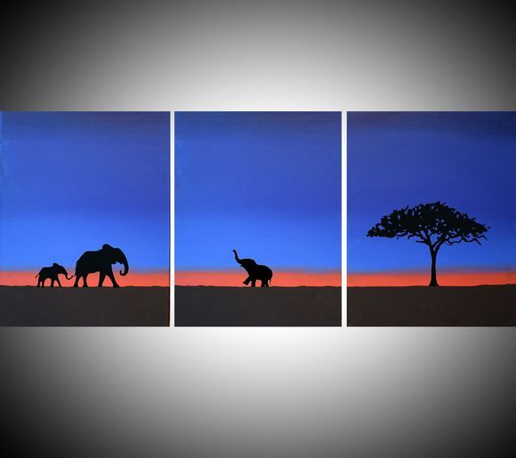 "original abstract animal landscape ""Elephants at Sunset"" gold africa animal elephant painting art canvas african - 48 x 20"""
