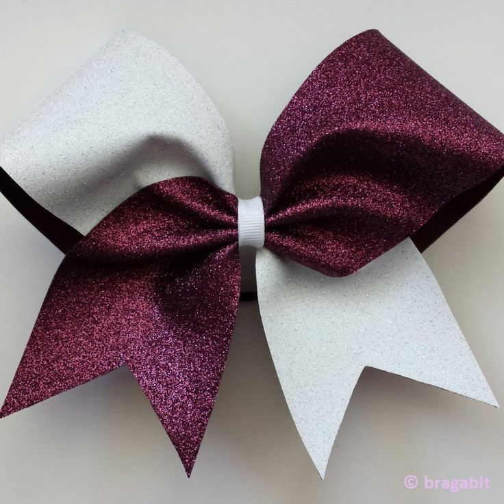 Two color glitter bow. Maroon and white glitter cheer bow - BRAGABIT