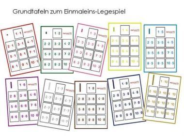 unterrichtsmaterial bungsbl tter f r die grundschule einmaleins legespiel nach montessori. Black Bedroom Furniture Sets. Home Design Ideas