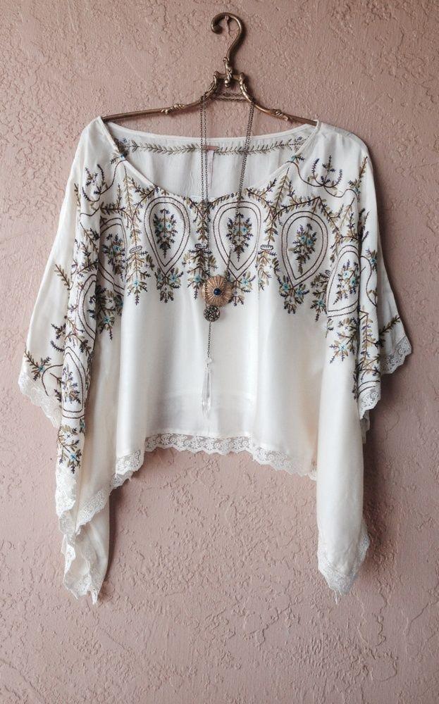 Free People rare silk cape sleeve crop gypsy blouse